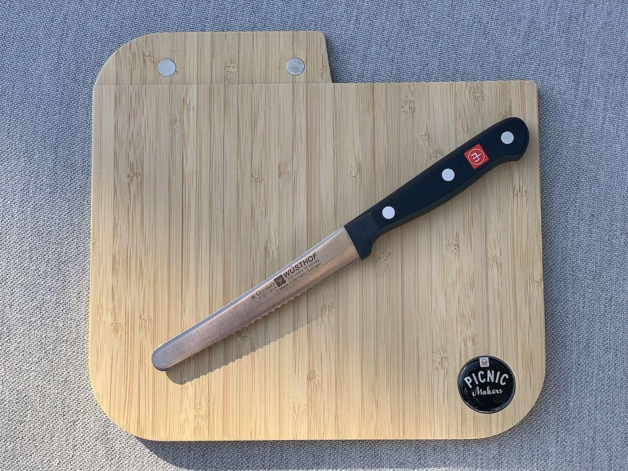 Picknickbrettchen mit Solingen-Messer von Wüsthoff