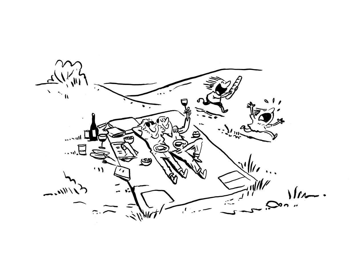 Illustration einer 4-köpfigen Familie beim Picknick, die Eltern auf der Decke, die Kinder am Toben