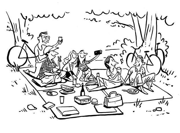 Illustration einer Gruppe von Freunden beim Picknicken