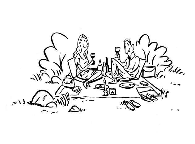 Pärchen beim Picknicken Tinderdate